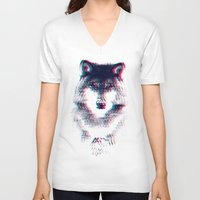 wolf V-neck T-shirts featuring Act like a wolf.  by Mason Denaro