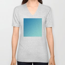 Blue and Light Soft Cyan Blue Aqua Gradient Ombré  Unisex V-Neck