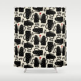 Coffee love coffee pots hearts and leaves pattern folk art Shower Curtain