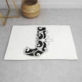 Letter J Elegant Scroll Initial Rug
