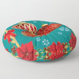 TEAL COLOR RED CHRISTMAS  ORNAMENTS &  POINSETTIAS FLOWER Floor Pillow
