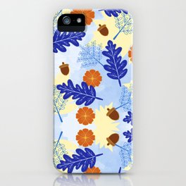 Falling Leaves in Winter Blue iPhone Case