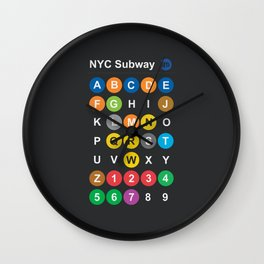 New York City subway alphabet map, NYC, lettering illustration, dark version, usa typography Wall Clock
