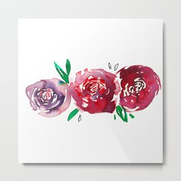 Three Red Christchurch Roses Metal Print