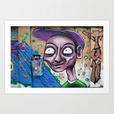 Purple, blue and green graffiti Art Print