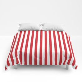 Vertical stripes - red and white Comforters