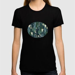 Wonderful Mid-Century Style Evening Lily And Wildflower Pattern T-shirt