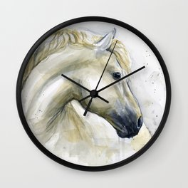 White Horse Watercolor Painting Animal Horses Wall Clock