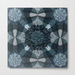Blue Rose Mandala Quilt Metal Print