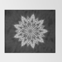 Black Ice Mandala Swirl Throw Blanket