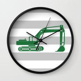 Grass Green Excavator Wall Clock