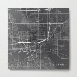 Des Moines Map, USA - Gray Metal Print