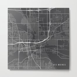 Des Moines Map, USA - Gray Metal Print