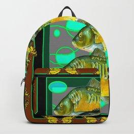 YELLOW MONARCH BUTTERFLIES & BROWN  FISH VIGNETTE Backpack