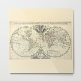 Antique Map from 1691, Sanson Metal Print
