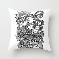 rooster Throw Pillows featuring Rooster by Sheila Rayyan