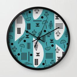 Little turtles and mushrooms Wall Clock