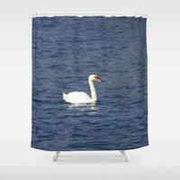 swan Shower Curtains featuring Swan by WonderfulDreamPicture