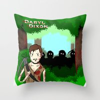 daryl dixon Throw Pillows featuring Daryl Dixon by Dan Solo Galleries