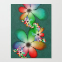 Rainbow Flowers Keeping Cool Against a Mint Wall Canvas Print