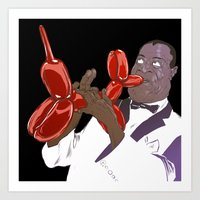 louis armstrong Art Prints featuring Armstrong by Mitt Roshin