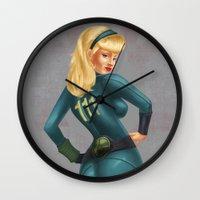 fallout Wall Clocks featuring Fallout girl by JuliaTara