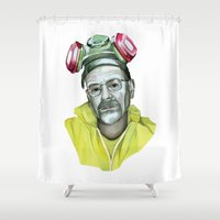 heisenberg Shower Curtains featuring Heisenberg  by Rocío Gómez