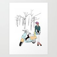 daschund Art Prints featuring Woodland ride by TWELVE Design