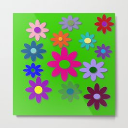 Flower Power - Green Background, Bright Colors, Fun Flower Power Desig Metal Print