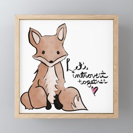 Introvert Quote Cute Watercolor Fox Art Framed Mini Art Print