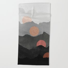 Mountains and the Moon - Black - Silver - Copper - Gold - Rose Gold Beach Towel