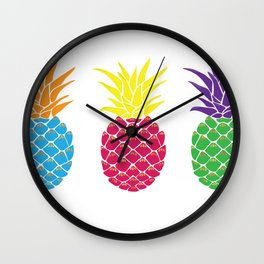 Colorful Pineapples Wall Clock