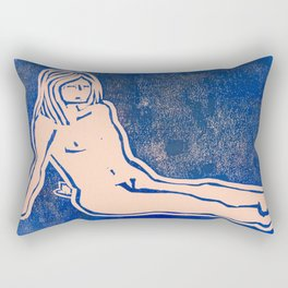Bathing Girl in Blue/Pink Rectangular Pillow