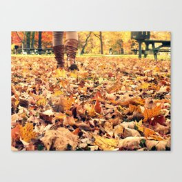 Cold Winter Boots on a Autumn Day Canvas Print