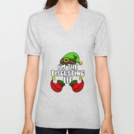 Disgusting Elf Matching Family Group Christmas Unisex V-Neck