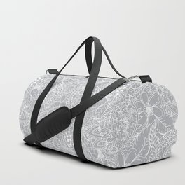Modern trendy white floral lace hand drawn pattern on harbor mist grey Duffle Bag