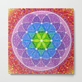 Rainbow Flower of Life Metal Print