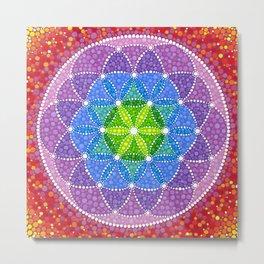 Rainbow Flower of Life Metal Print