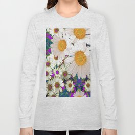 PURPLE-TEAL ACCENTS WHITE DAISIES GARDEN  ART Long Sleeve T-shirt