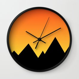 Mountains at Sunset (Red & Yellow) Wall Clock
