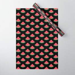 Cute Watermelon Pattern (Black) Wrapping Paper