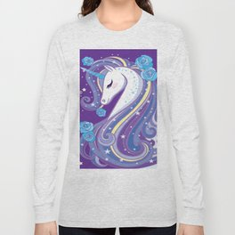 Magical Unicorn in Purple Sky Long Sleeve T-shirt