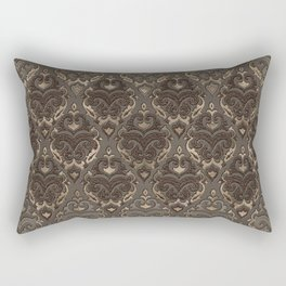Oriental Pattern -Pastels and Brown Leather texture Rectangular Pillow