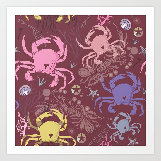 Crab pattern Art Print