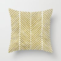 gold foil Throw Pillows featuring Gold Foil Chevron by Berty Bob