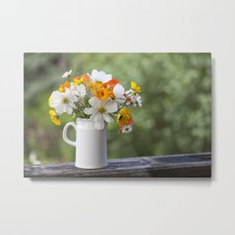 Still Life With Summe Flowers In Pitcher Metal Print