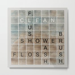 Bathroom 'Scrabble' Letters Metal Print