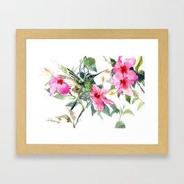 Hibiscus and Hummingbird, Hawaiian Aloha, birds and flowers design Framed Art Print