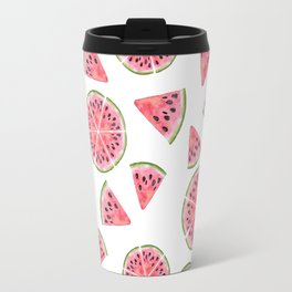 Modern pink green watercolor hand painted watermelon pattern Travel Mug