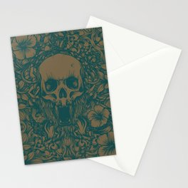 Blue Skull in jungle Stationery Cards